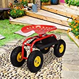 lunanice Rolling Garden Cart Work Seat With Heavy Duty Tool Tray Durable Planting Red