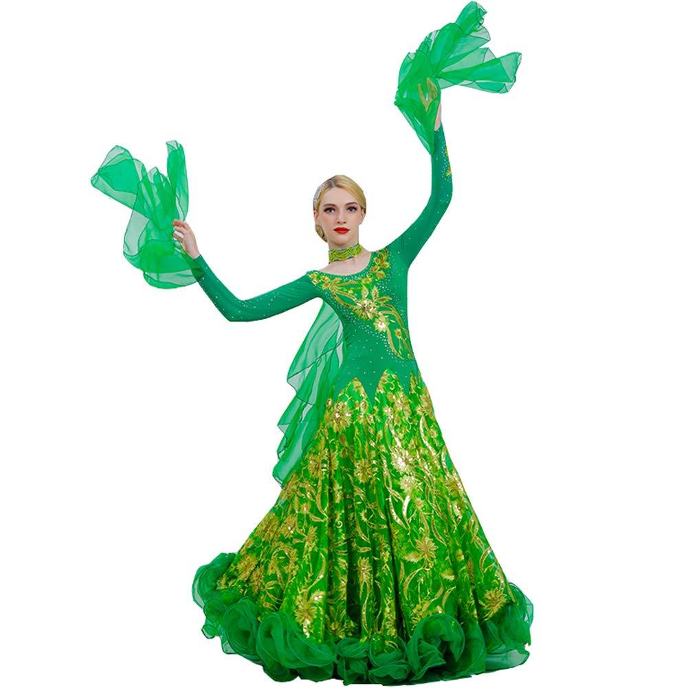 149b5455ff66e 社交ダンス モダンドレス 長袖 ワンピースドレス キラキラスパンコール インターナショナルダンス 高級 スタンダードドレス タンゴ服