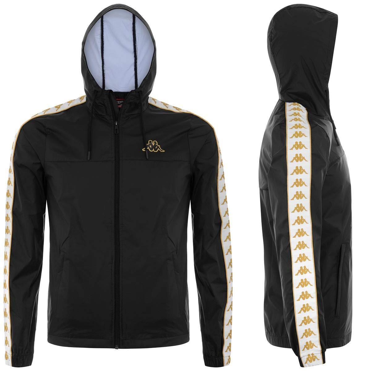 4efa915d38 Kappa 222 Banda Dawson Men Hoodie Jacket - Black/White/Gold at ...