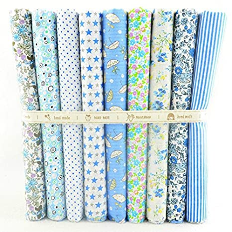 9 Telas azul cielo de 50 X 50 cm para manualidades, costura, scrapbooking,