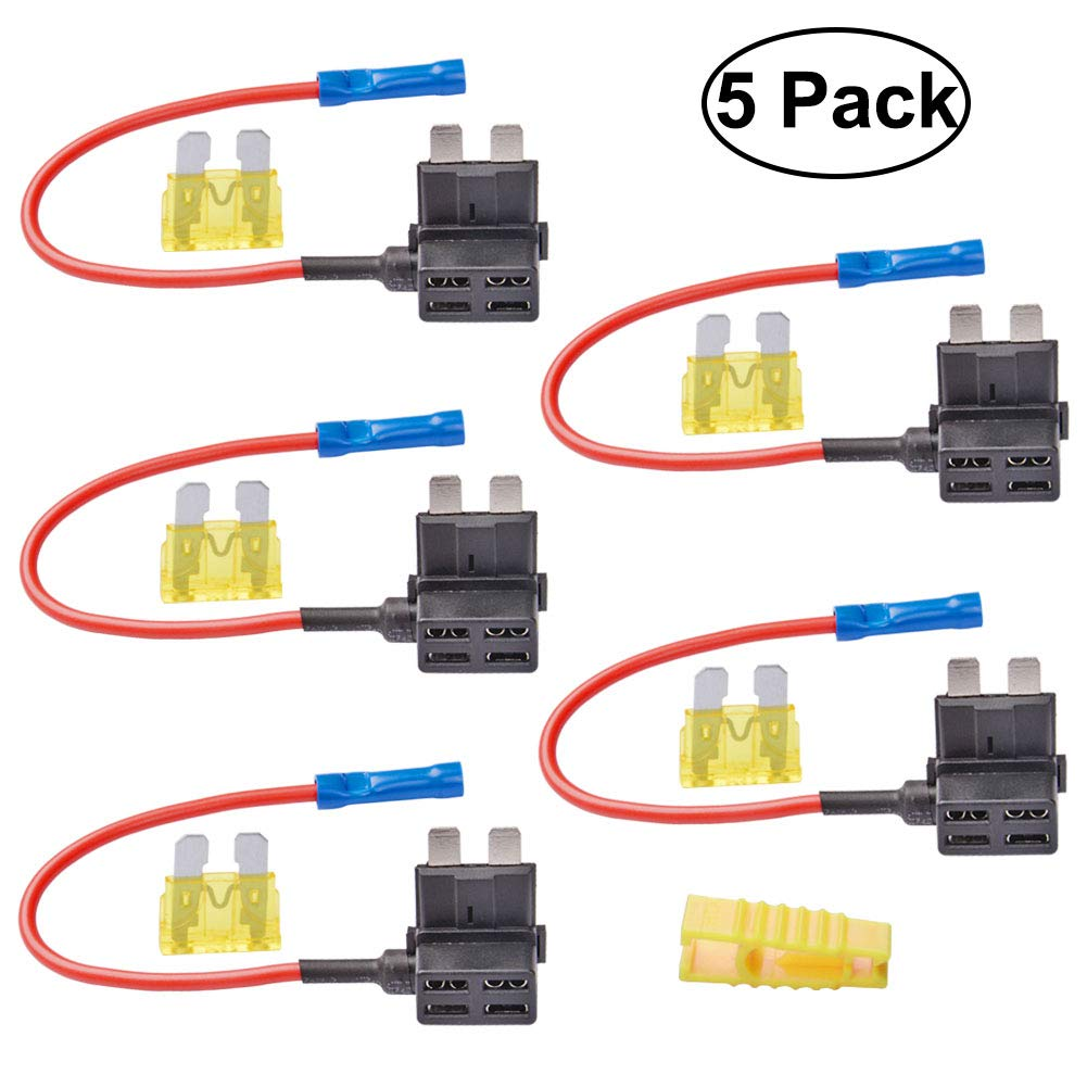 CJRSLRB 5 Pack Car Add-A-Circuit Fuse TAP Adapter Medium ATM APM Blade Fuse Holder with 20A Fuse and Fuse Puller