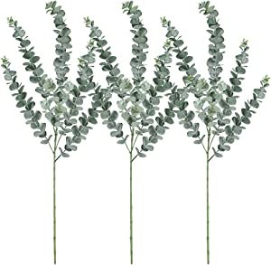 "Supla 3 Pcs Faux Eucalyptus Leaves Spray Artificial Eucalyptus Branches Plants Artificial Greenery Stems 35"" Tall in Grey Green for Greenery Wedding Party Floral Arrangement"