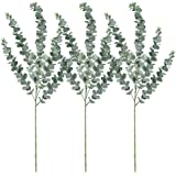 """Supla 3 Pcs Faux Eucalyptus Leaves Spray Artificial Eucalyptus Branches Plants Artificial Greenery Stems 35"""" Tall in Grey Green for Greenery Wedding Party Floral Arrangement"""