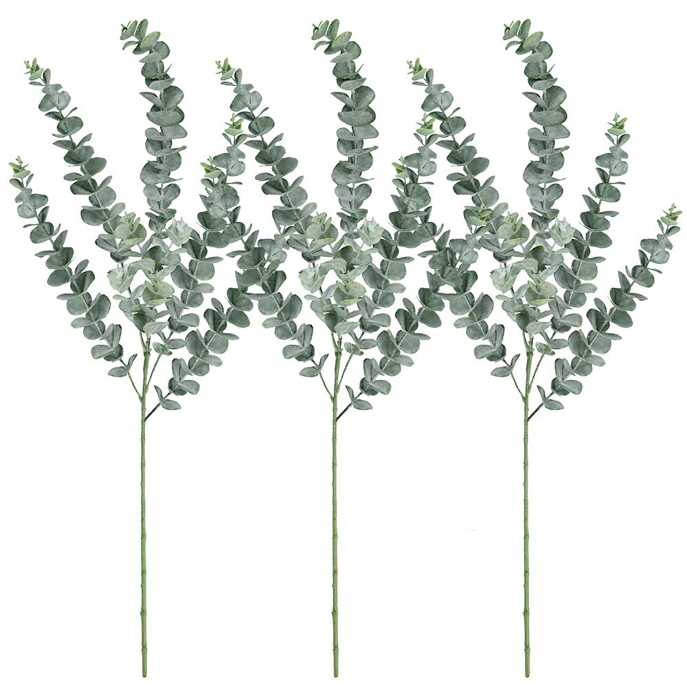 Supla 3 Pcs Faux Eucalyptus Leaves Spray Artificial Eucalyptus Branches Plants Artificial Greenery Stems 35'' Tall in Grey Green for Greenery Wedding Party Floral Arrangement