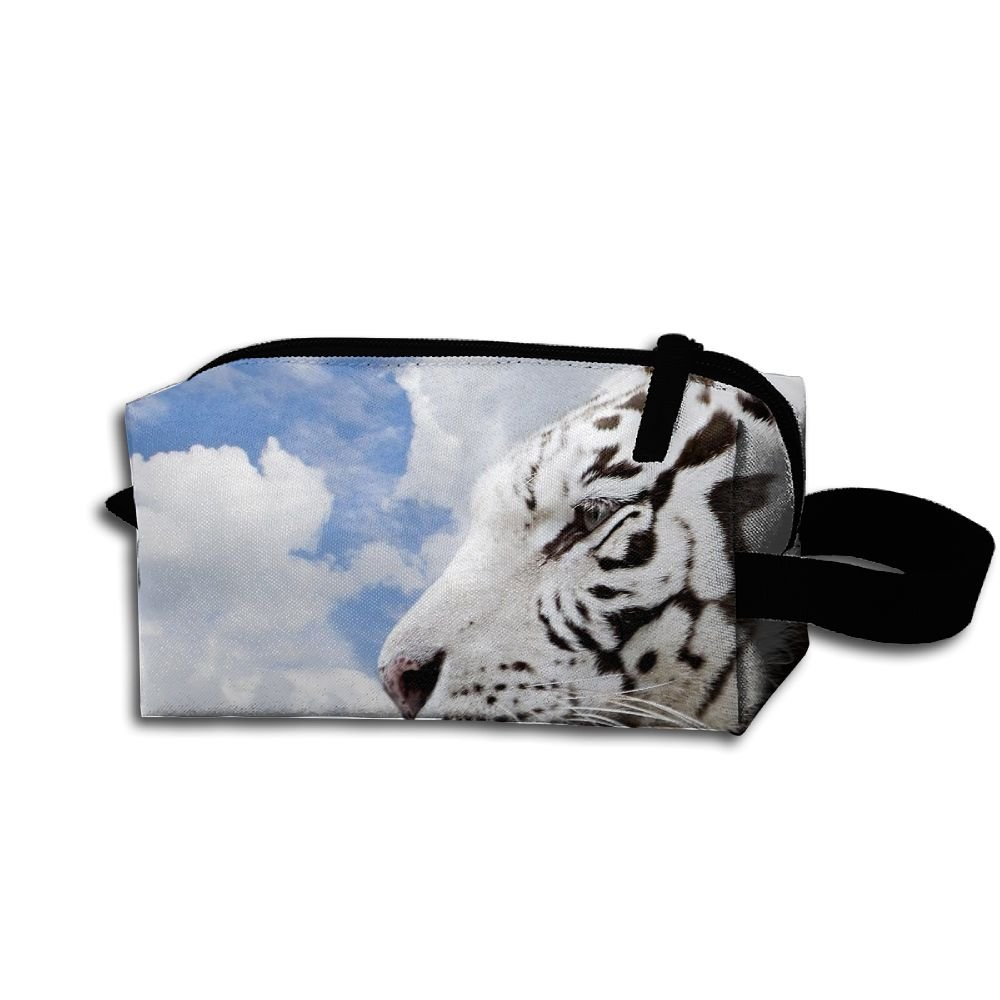 Makeup Cosmetic Bag White Animals Tigers Zip Travel Portable Storage Pouch For Men Women