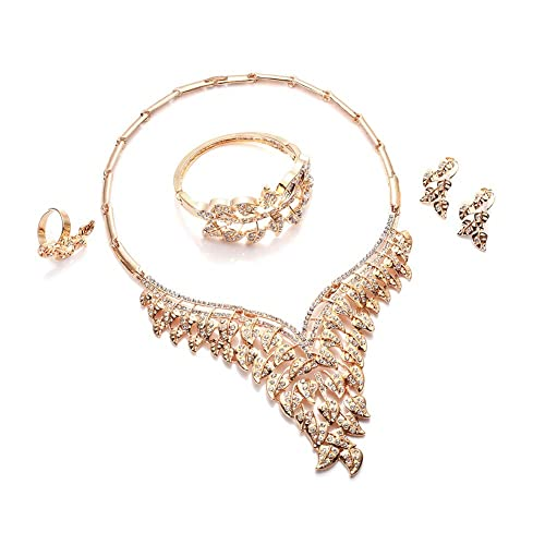 01f54887f0e2b Everrich Crystals Bridal Flower Circle Tear Drop Rose Gold Plated Earring  Necklace Wedding Engagement Jewelry Sets,4 Pairs