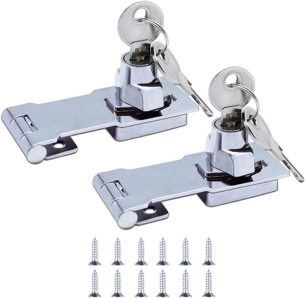 JaneYi (2 Piezas) Cerrojo de Metal 80mm Hebilla del Pestillo de La Puerta con Candado y Llave - Cromado Hardware para Cerrar Cobertizo Puertas Gabinetes Cajas Mueble