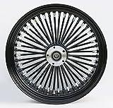 Ultima King Spoke Black on Black Aluminum Rear Wheel, 18'' x 5.5'', Black Billet Hub