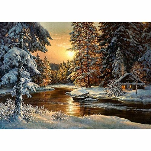 Beautiful Snow - 5D DIY Diamond Painting Beautiful Snow Scenic Embroidery Full Diamond Cross Stitch Rhinestone Mosaic Painting Home Decor