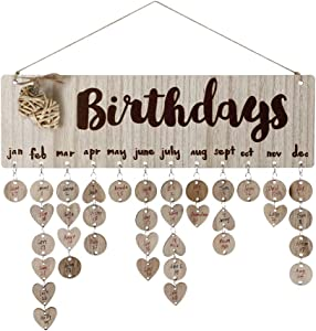 Joy-Leo Gifts for Moms Dads - Wooden Family Birthday Reminder Calendar Board [50 Wood Circles and 50 Wood Hearts with Holes/Birthday Hearts Pattern ], Decorative Birthday Tracker Plaque Wall Hanging