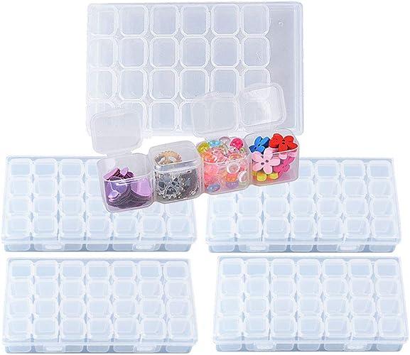 BUONDAC 4pcs Cajas de Almacenamiento de Plástico Transparente con 112 Compartimentos Organizador Piezas Pequeñas Pastillas Pintura Bordado Diamantes Cuentas Granos Accesorios Arte de Uñas: Amazon.es: Joyería
