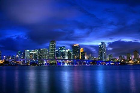 Miami Nights Florida Cityscape Giclee Canvas Picture Art