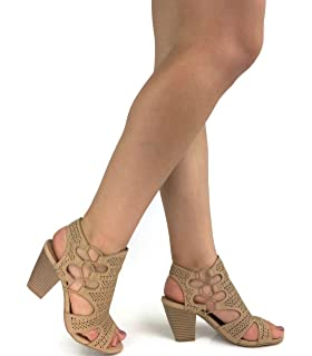 287941ada78 City Classified Open Toe Perforated Lace up Elastic Side Stacked Chunky  Heel Sandal