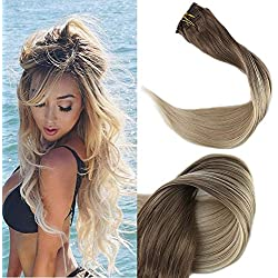 """Full Shine 20"""" 120gram 10 Pcs Remy Balayage Clip in Hair Extensions Dark Brown Color #8 Fading to Color #60 Platinum Blonde Balayage Human Hair Extensions Clip in Real Hair"""