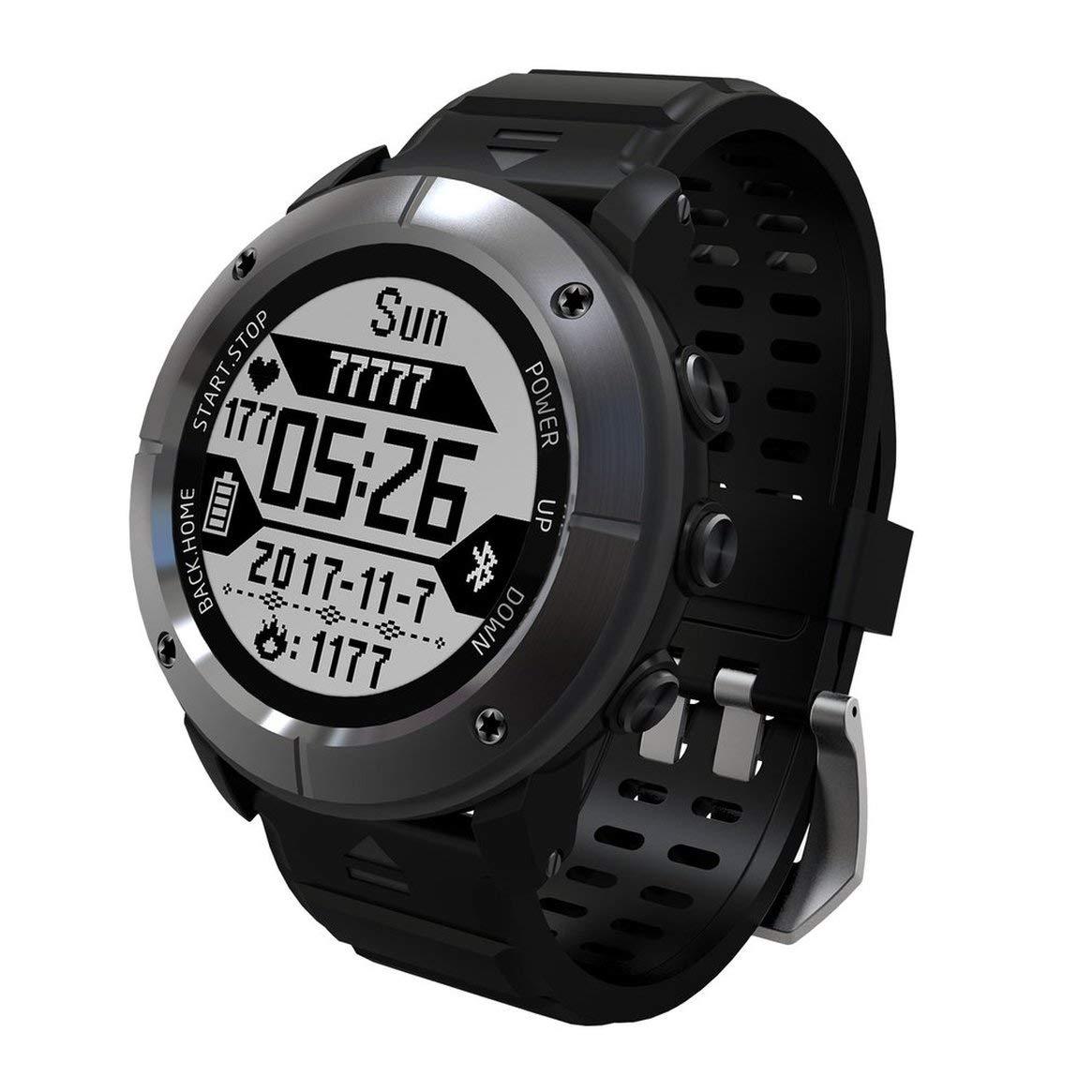 Delicacydex 1.2-Zoll-Anzeige-Wasserdichte wandernde im Freien laufende intelligente Uhr-Pulsmesser-GPS-Thermometer-Sport-Uhr - Grau
