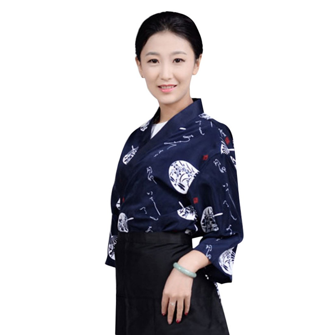 Enerhu Japanese Chef Coat Sushi Chef Jacket Kitchen Uniform Unisex Dark Blue Asian M
