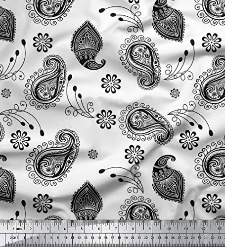Soimoi White Cotton Voile Fabric Black Sketch Paisley Print Sewing Fabric BTY 42 Inch Wide