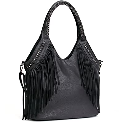 ac40aa683815 Amazon.com  JOYSON Women Handbags Hobo Shoulder PU Leather Fashion Bag  Tassels Black-B  Clothing