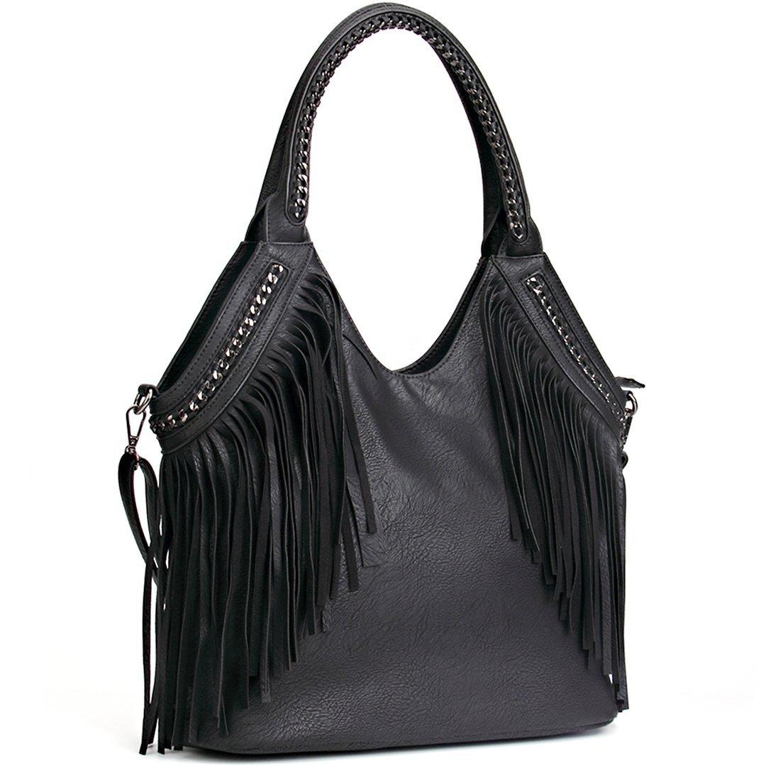 b1c40ea0b147 Amazon.com  JOYSON Women Handbags Hobo Shoulder PU Leather Fashion Bag  Tassels Black-B  Clothing