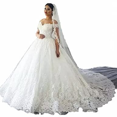 37cb74653f6 Little PrettyDress Women s Vintage Lace Ball Gown Wedding Dresses Bridal  Gowns Luxury Appliques (Ivory