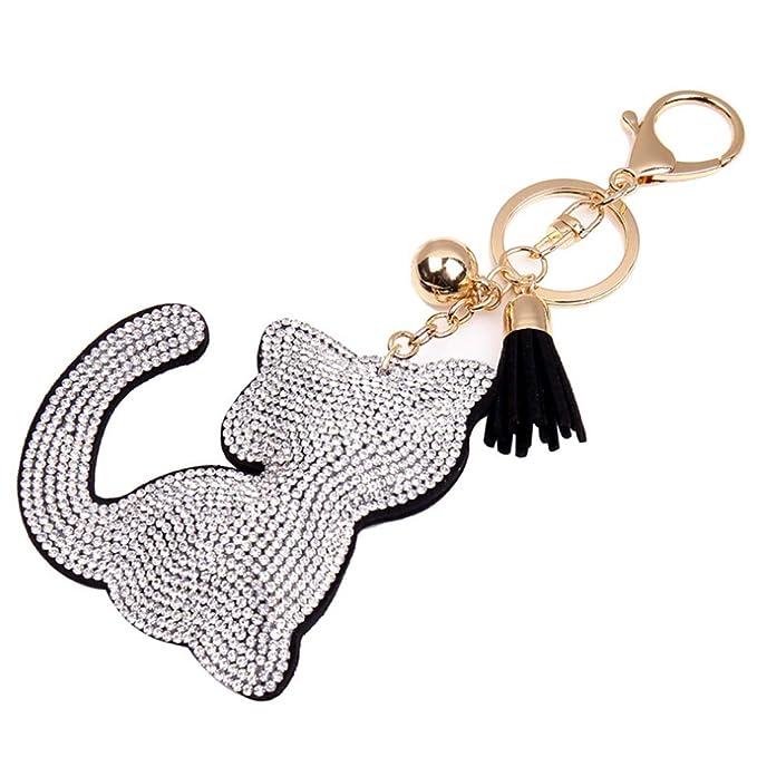 Fulision Moda gato diseño llavero brillante bolso monedero ...