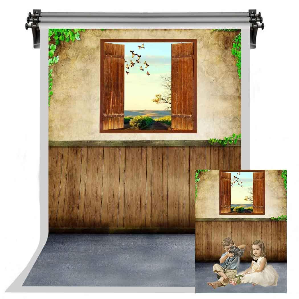 F-FUN SOUL 黄色 壁 背景 木製 窓 プロフェッショナル 写真 背景 写真 スタジオ小道具 5X7フィート FSYM063   B07HF3GGM2