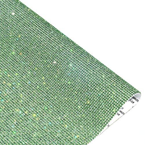 9.4in X 15.7in Bling Crystal Rhinestone DIY Decoration Sticker,Self Adhesive Crystal Sheet with 2mm Rhinestones (Green)