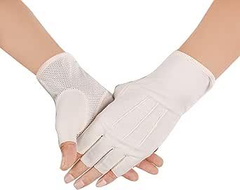 Jisen - Guantes de algodón sin dedos para hombre, protección UV, poliéster A-beige1 Talla única: Amazon.es: Ropa y accesorios
