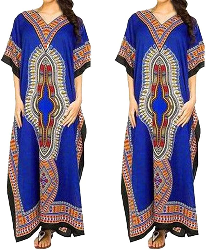 Witspace Womens Summer Fashion Digital Print Short-Sleeved V-Neck Dress