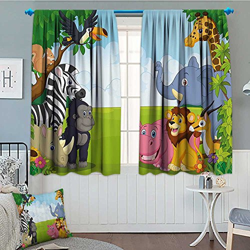 Kids Decor Thermal Insulating Blackout Curtain Kids Decor Children Nursery Room Safari Themed Cartoon Animals Image Art Print Patterned Drape For Glass Door 72