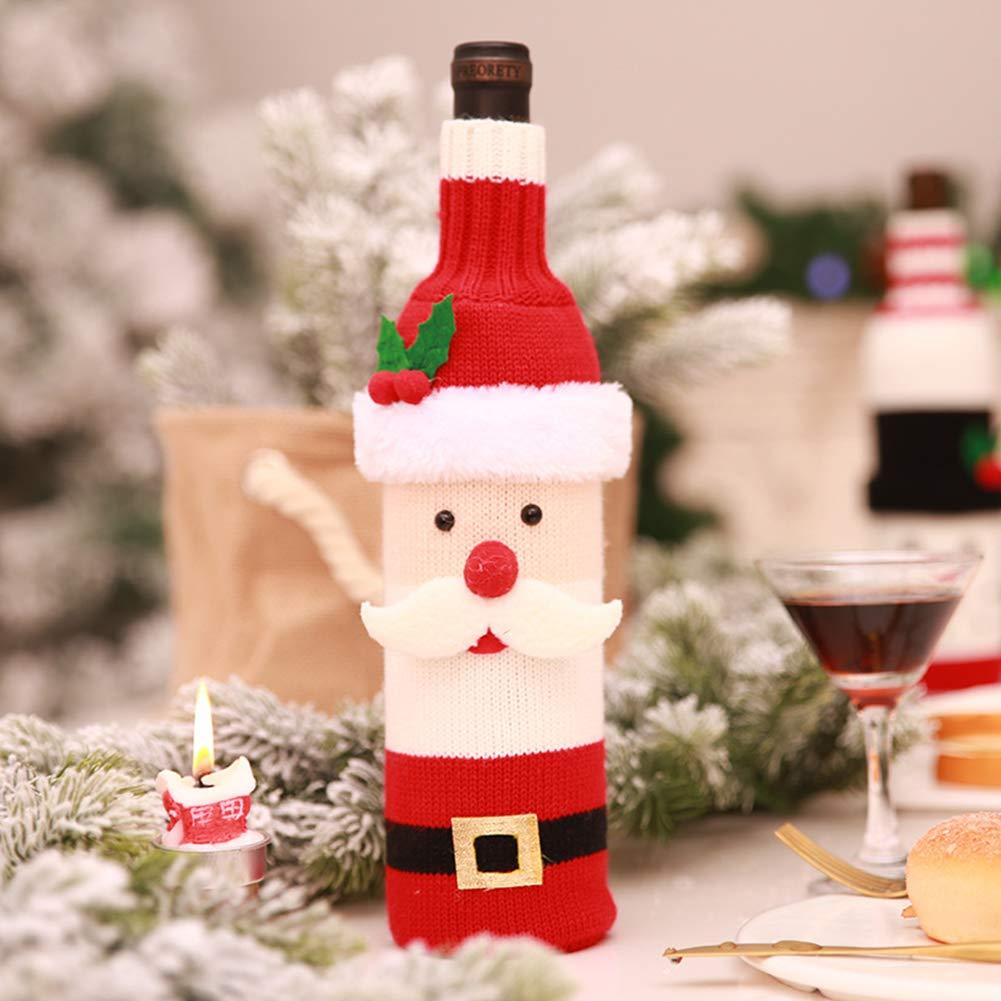 Zantec Decorazione natalizia, Copertura della bottiglia Copribottiglia natalizio creativo per bottiglia di vino - Babbo Natale