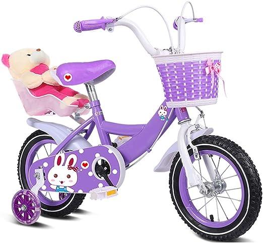 YUMEIGE Bicicletas Bicicleta Infantil 12 14 16 18 20 Pulgadas, Bicicleta para niña con Rueda de Entrenamiento Flash, Canasta Tejida, Oso, Bicicletas, Regalo de 2-15 años Disponible: Amazon.es: Jardín