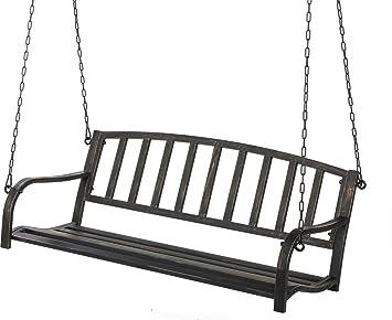 Black Metal Patio Porch Swing Hang Bench Outdoor In Your Gazebo Or