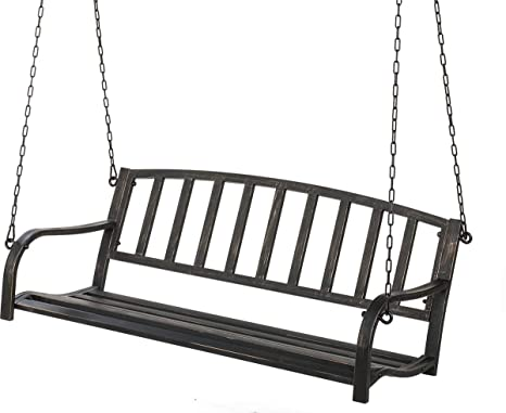 Astounding Black Metal Patio Porch Swing Hang Bench Outdoor In Your Alphanode Cool Chair Designs And Ideas Alphanodeonline