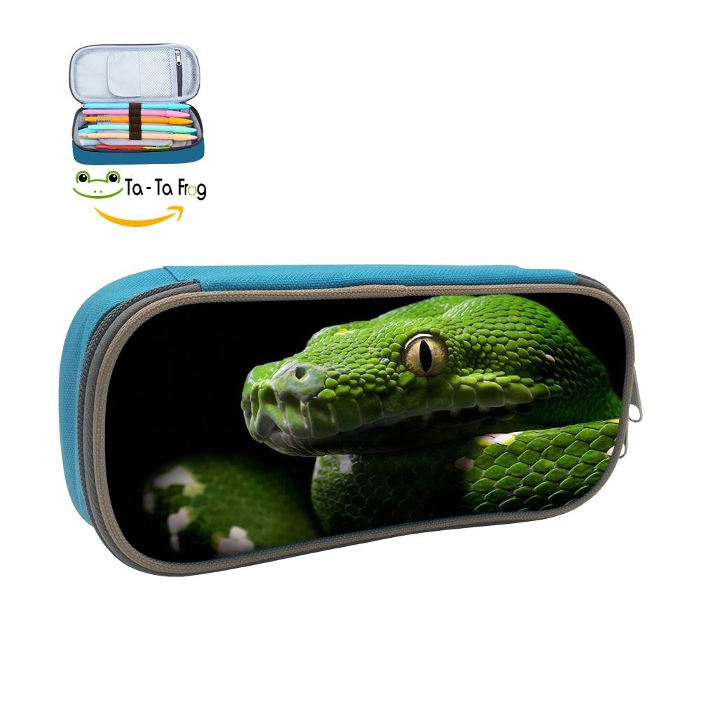 Snake Animal Pencil Case Pen Bag Makeup Pouch Durable Students Cool Girls Stationery With Double Zipper