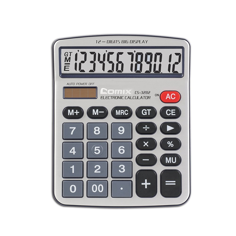 Comix Standard Function Desktop Calculator, Dual Powered, Large LCD Display, 12 Digits, CS-3282