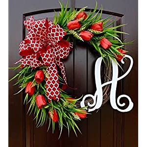 Red Tulip Front Door Wreath with Script Monogram for Door Decor-Mother's Day 7