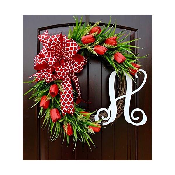 Red Tulip Front Door Wreath with Script Monogram for Door Decor-Mother's Day