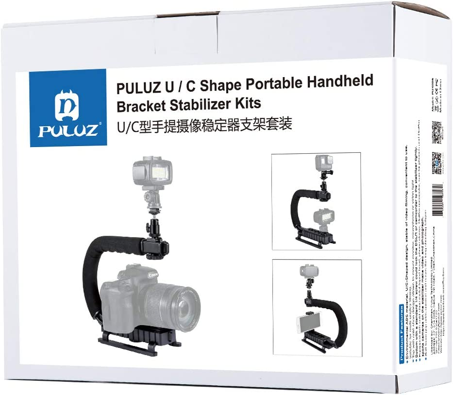 SHENGMASI Camera Stabilizer U//C Shape Portable Handheld DV Bracket Stabilizer Kit with Cold Shoe Tripod Head /& Phone Clamp /& Quick Release Buckle /& Long Screw for All SLR Cameras and Home DV Camera