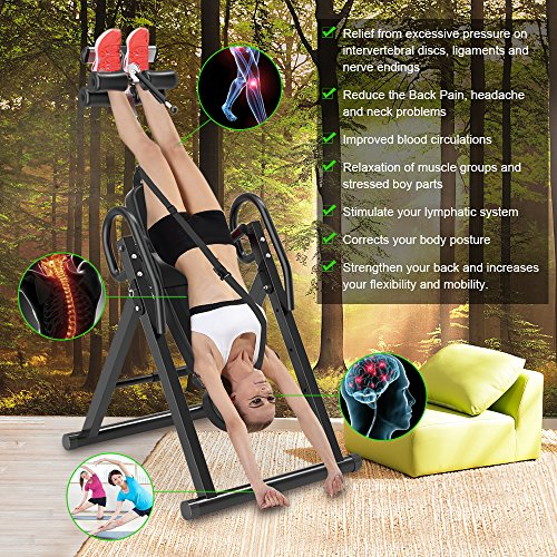 Yoleo Gravity Heavy Duty Inversion Table with Adjustable Headrest & Protective Belt (Black) by Yoleo (Image #2)