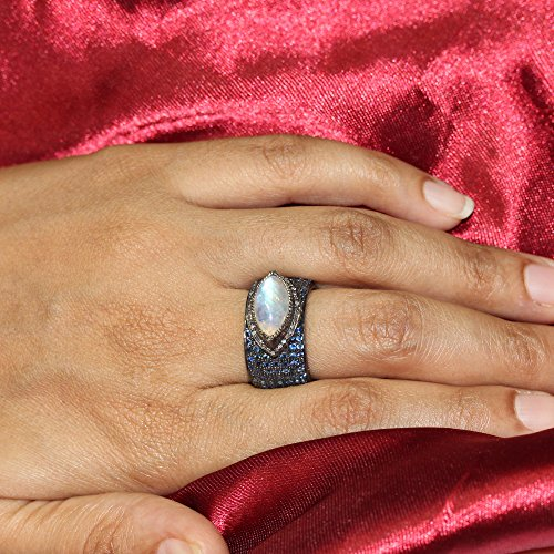 - 925 Sterling Silver Rainbow Moonstone Blue Sapphire Gemstone Band Ring Handmade Vintage Style Diamond Pave Jewelry