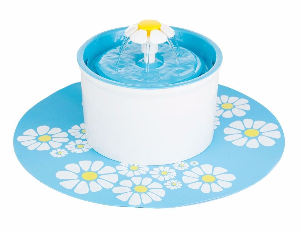 Irispets 1.6L Automatic indoor Flower Water Fountain for Cats, Small Dogs, and Small animals – with 5 Carbon Filters, patterned Mat and Teaser Cat Toys (Blue Fountain)