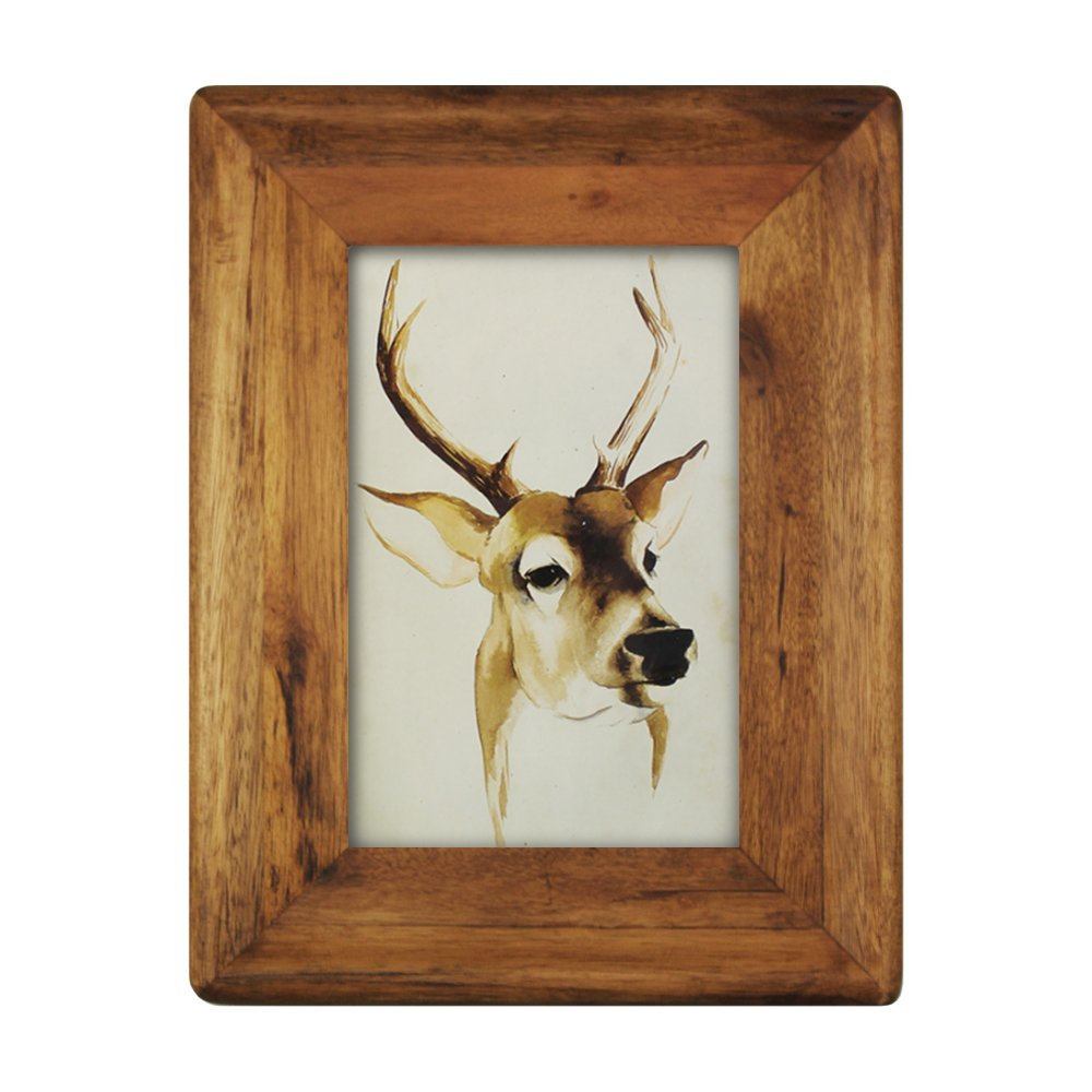 icheesday 4x6 inch Wood Picture Frame,4x6 Glass Front Wall Hanging Rustic Handmade Tabletop Photo Frames with Stand