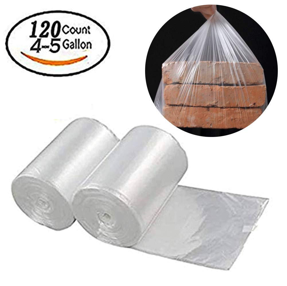 Garbage Bags Medium 4-5 Gallon Used for Kitchens, Offices, Schools, Restaurants, Hotels, Airports,Shopping Malls,Bathroom, White120 Count 2Pack