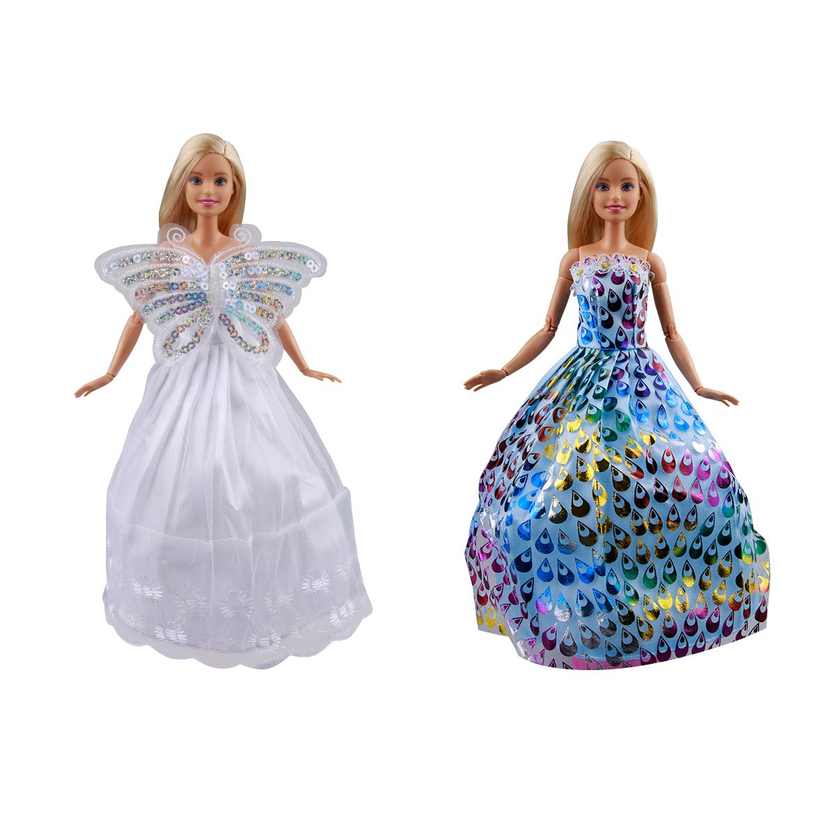 Keysse Lot 20 Items 10 Packs Wedding Party Dresses Grown Outfits for 11.5 Doll and 10 Pairs Shoes for Girl Birthday Xmas Gift
