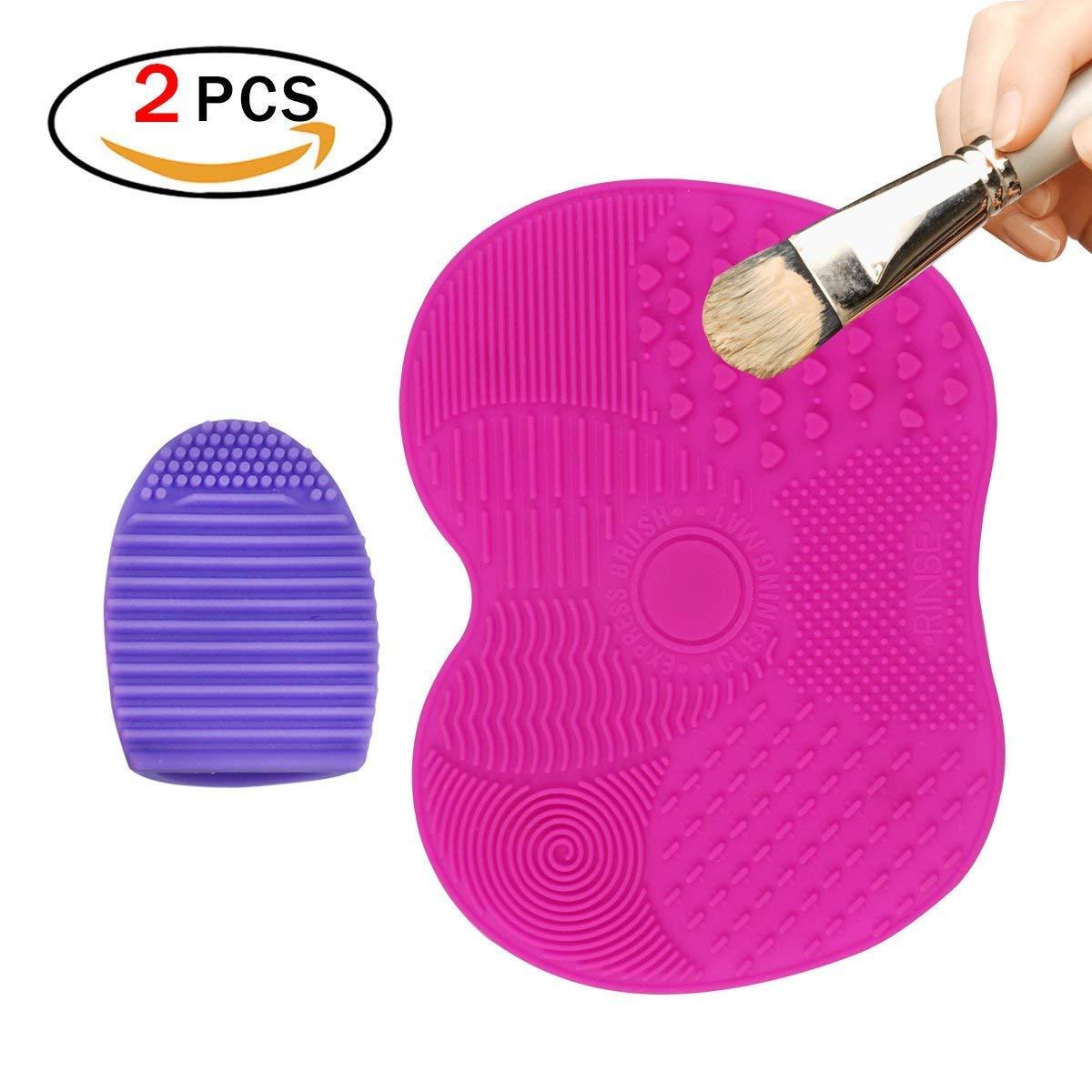 JER 2 Pack Brosse Nettoyante Pinceau en Silicone Brushegg, Outil Tapis de Nettoyage pour Pinceaux de Maquillage Nettoyeur pour Pinceaux