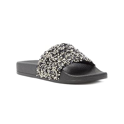 3614836a76fb Lilley Womens Black Sequin Slip On Slider  Amazon.co.uk  Shoes   Bags