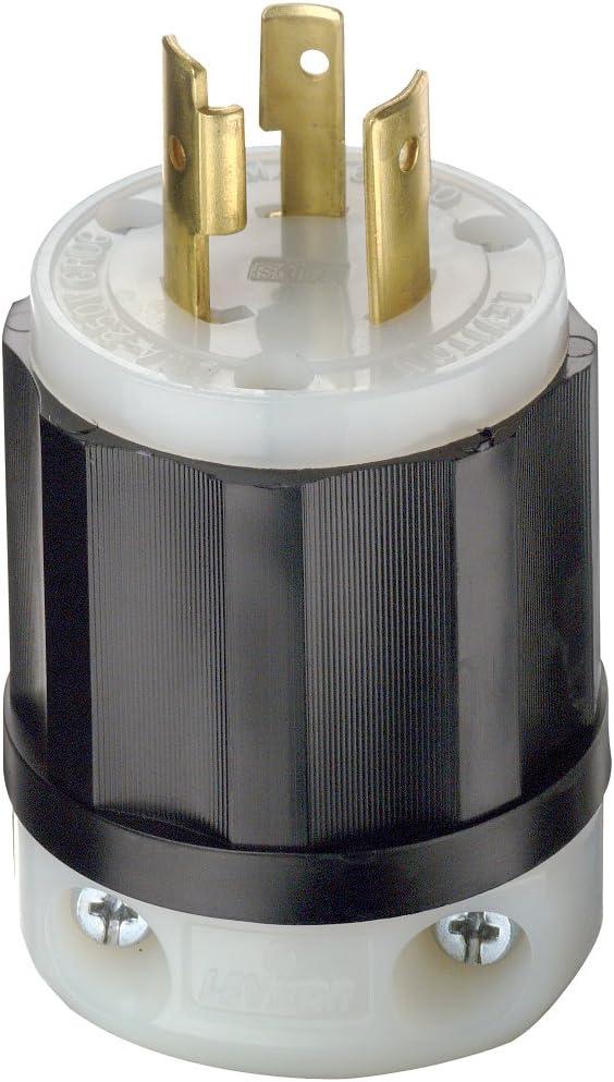 Leviton 2321 20 Amp, 250 Volt, NEMA L6-20P, 2P, 3W, Locking Plug, Industrial Grade, Grounding - Black-White