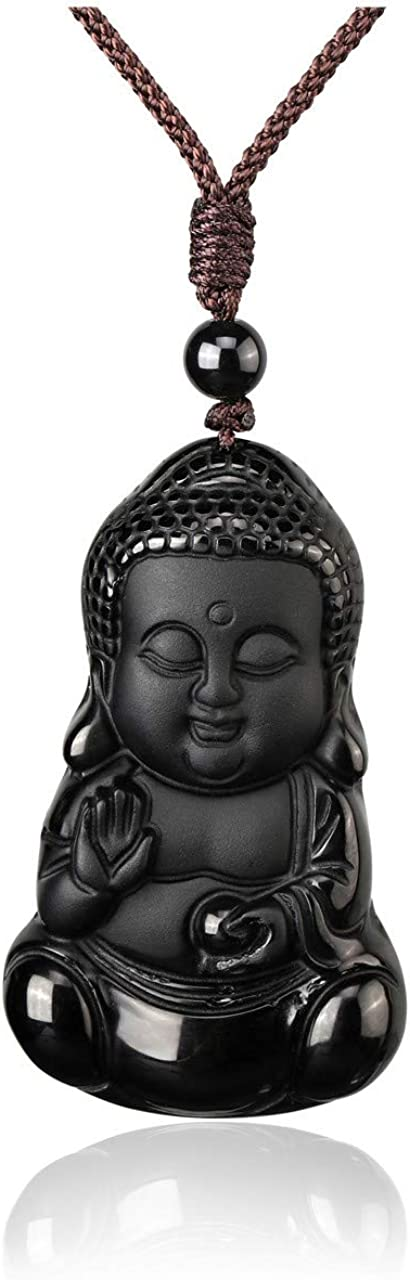MANIFO Gemstone Buddha Pendant Necklace Hand Carved Crystal Bodhisattva Talisman Necklace Protection Amulet Healing