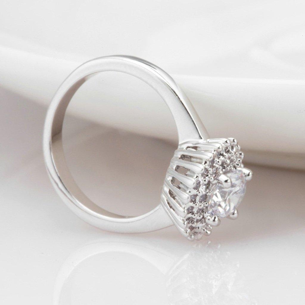 Epinki Women Wedding Bands Anniversary Engagement Ring Bridal Set 4-Prong Cubic Zirconia Flower